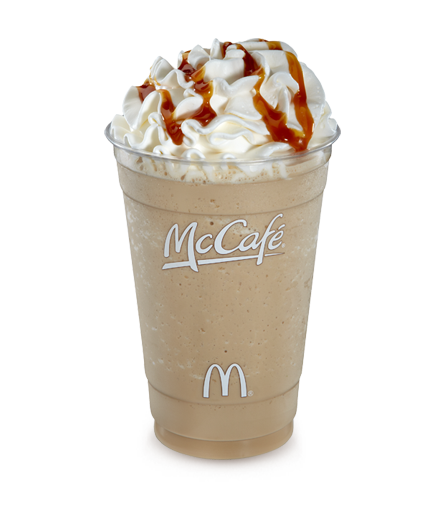 McDonald's Caramel Iced Frappe. A hint of coffee is blended with ice, then topped with cream and our smooth caramel sauce. The smooth and delicious Caramel Iced Frappé. A hint of delicious coffee is blended with ice, then topped with cream and our smooth caramel sauce. Just the thing to cool down with on a hot day. A hint of delicious.
